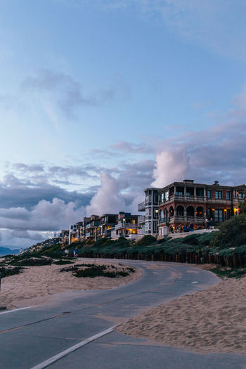 Architecture Beach Beach House Beauty In Nature Bike Lane Building Exterior Built Structure Cloud - Sky Copy Space Day Dusk Factory Industry Los Angeles, California Nature No People Outdoors Power Station Romantic Sky Sand Sky Water