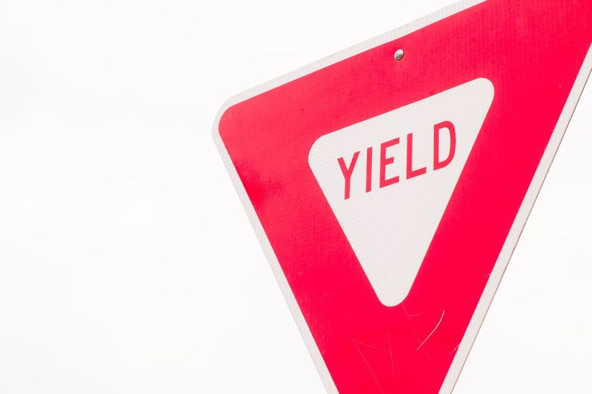 Sign Yield Sign Yield Red White Background No People Communication Close-up Day Outdoors