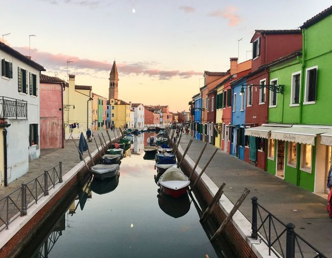 Water Architecture Canal Italy Colourful Tranquility Tranquil Scene Sunset Painted Houses
