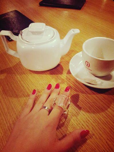 колечко^_^ red nails Enjoying Life Tea Relaxing Taking Photos