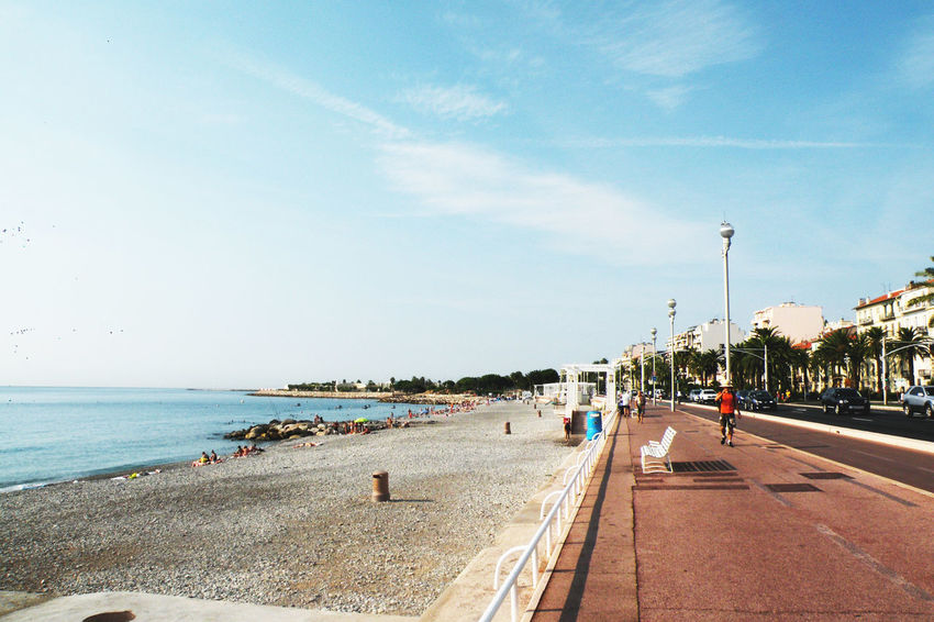 Beach Clear Sky Day Horizon Over Water Nature Nice France Outdoors People Scenics Sea Sky The Way Forward Transportation Travel Destinations Tree Water