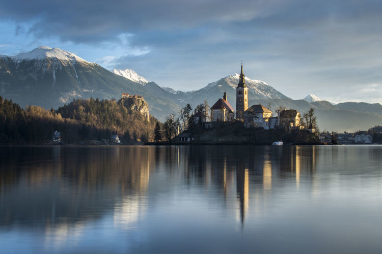 Reflection of st mary church on bled lake