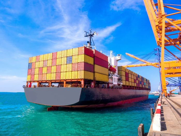 Transportation Sky Sea Cargo Container Mode Of Transport Nautical Vessel Industry Shipping  Outdoors Water No People Day port Berth jetty Export Shipping  Transportation Storage Industry Nature Warehouse Yard Planner Contsiner
