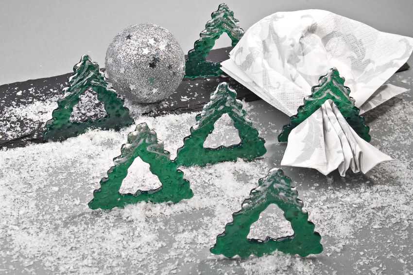 Christmas Close-up Day Dekoration Green Color Indoors  Napkin, Ring, No People