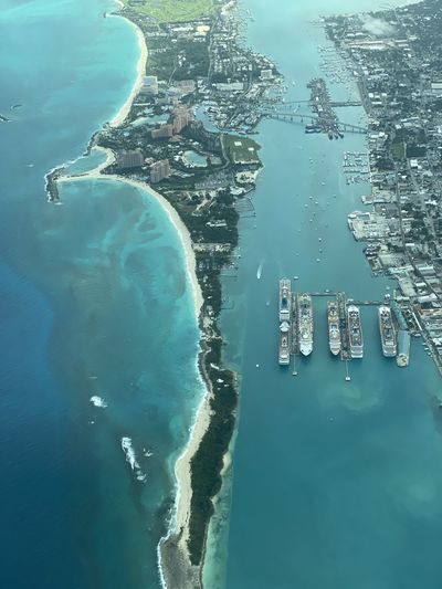 High angle view of the port of nassau