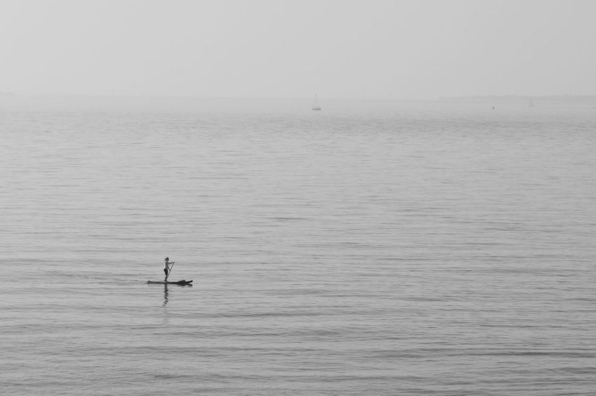 Early Morning Seatrip Black & White Morning Blackandwhite Day Horizon Horizon Over Water Mode Of Transportation One Person Sea Tranquility Water Waterfront