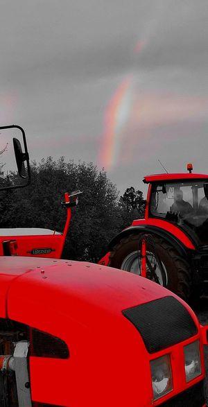 Rainbow Rainbow Colors Rainbow Sky Technik  Tractors Tractor Red Tractor Red Rainbow Wet Sky Agricultural Machinery Rainy Season RainDrop