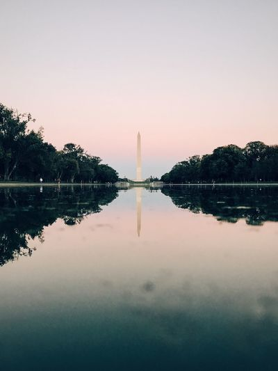Architecture Beauty In Nature Built Structure Clear Sky Day Nature No People Outdoors Reflecting Pool Reflection Scenics Sky Sunset Symmetry Tranquil Scene Tranquility Tree Water
