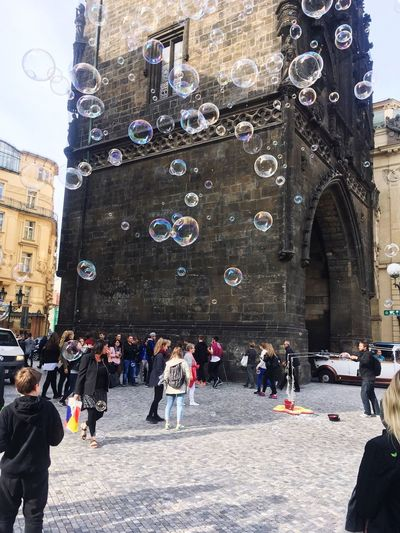 Good Times Building Exterior Large Group Of People Architecture Real People Soap Bubbles