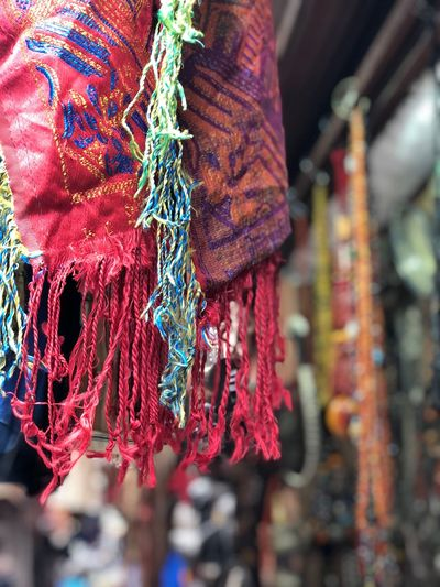 Close-up of multi colored decoration hanging at market stall