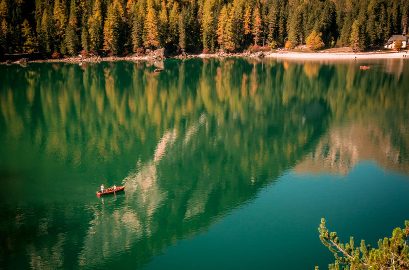 Mirror. Nautical Vessel Water Reflection Nature Lake Outdoors Tranquility Vacations Travel Destinations Scenics Beauty In Nature Day People Trentino  Trentino Alto Adige Braies Lake