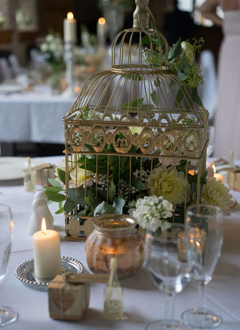 Candle Wedding Wedding Reception Bird Cage Close-up Flowers Indoors  Love ♥ No People Table Vintage Wedding Wedding Room