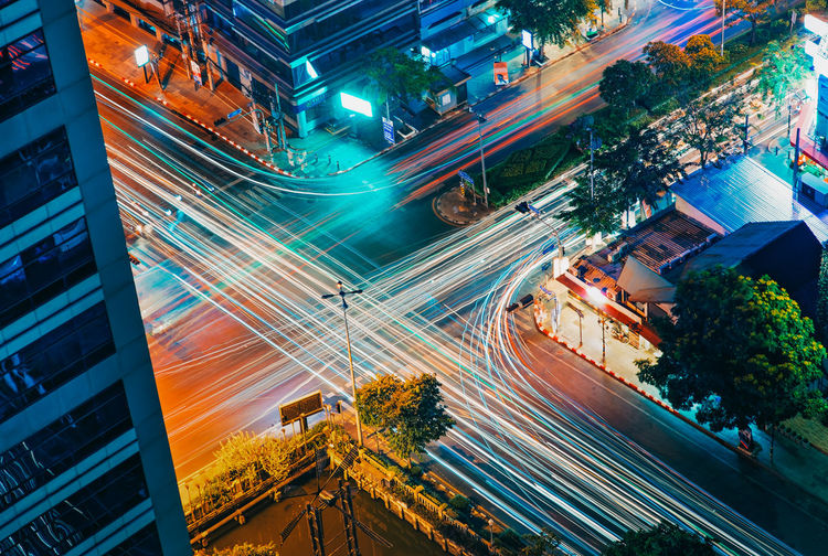 City Long Exposure Light Trail Architecture Motion Night Road Speed Building Exterior Street Transportation High Angle View Illuminated Built Structure City Life Blurred Motion City Street No People Cityscape Mode Of Transportation Outdoors Bangkok My Best Photo