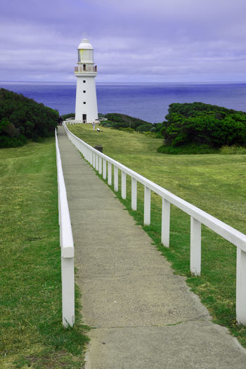 Dec 2016 Cape Otway Lightstation Bass Strait Ocean Horizon Overcast Skies Railing Grass Clouds And Sky