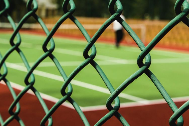 Close-up of basketball hoop on playground