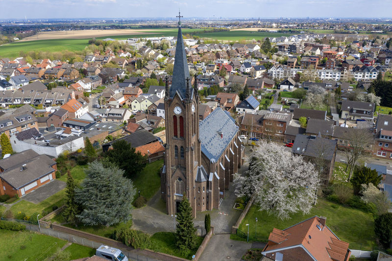 areal view of rural village Nature Day Outdoors High Angle View Structure And Nature Architecture Houses Built Structure Tree Roof Church