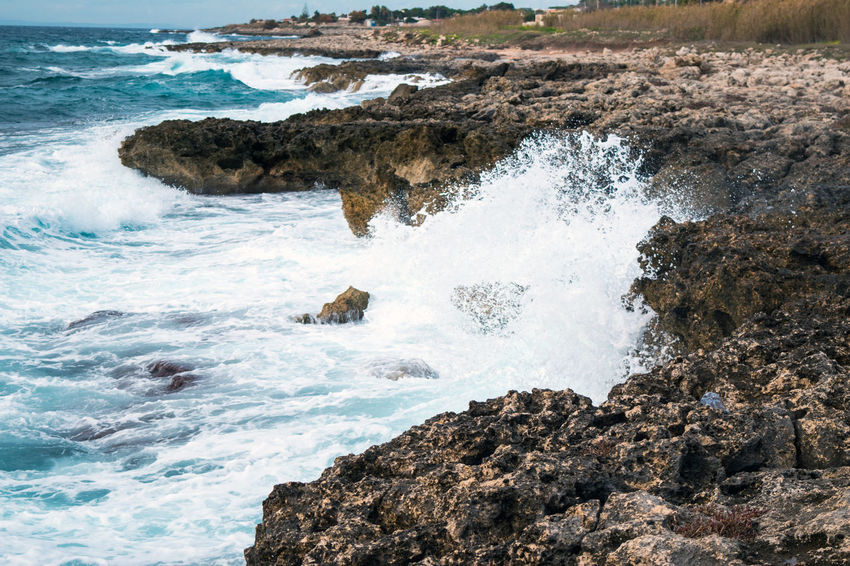 Leporano Litorânea Mare Onde Rocks Scogli Sea Taranto Vento Waves Waves Crashing Blue Wave