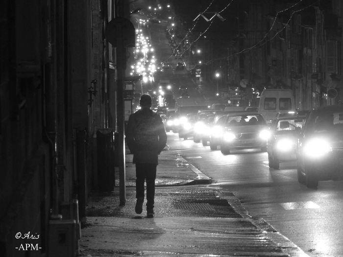 Street Full Length Night Transportation Real People Rear View Mode Of Transport Only Men Land Vehicle Car Illuminated Men Road One Person One Man Only Adults Only People City Photography Black & White Photography Francephotographer Aris Philoxene Meyborn Limoges Cool Human