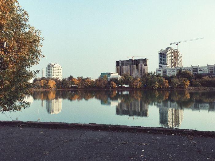 Reflection of city on lake