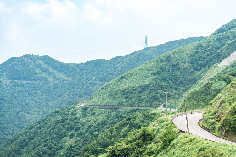 Mountain Transportation Scenics - Nature Tree Sky Green Color Day Plant Beauty In Nature No People Nature Cable High Angle View Environment Road Landscape Electricity  Land Tranquil Scene Tranquility Outdoors