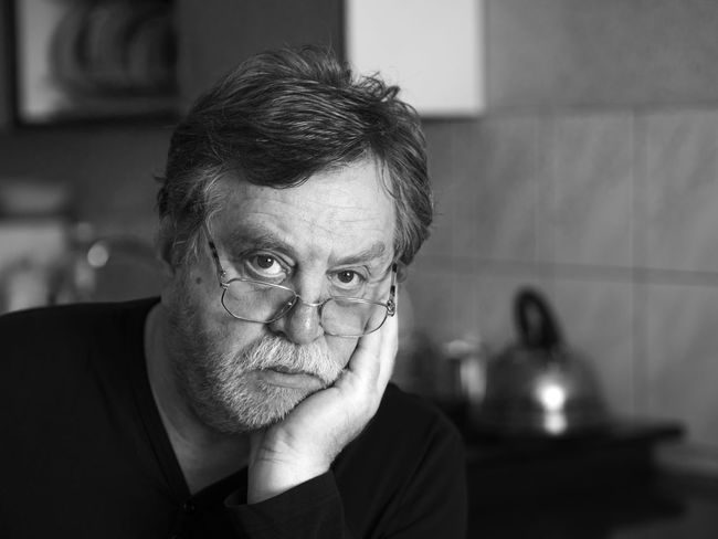 Black and white portrait of pensive mature man Man Must Pensive Adult Adults Only Black And White Breaded Caucasian Close-up Day Domestic Kitchen Domestic Life Domestic Room Gray Hair Headshot Home Interior Human Body Part Human Eye Human Face Indoors  Kitchen Lifestyles Looking At Camera One Man Only One Person Only Men People Portrait Real People Senior Adult Serious