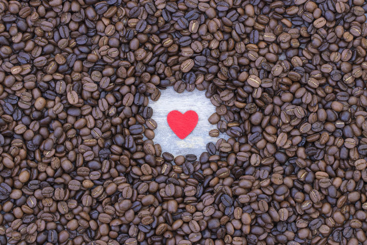 Directly above shot of heart shape on pebbles