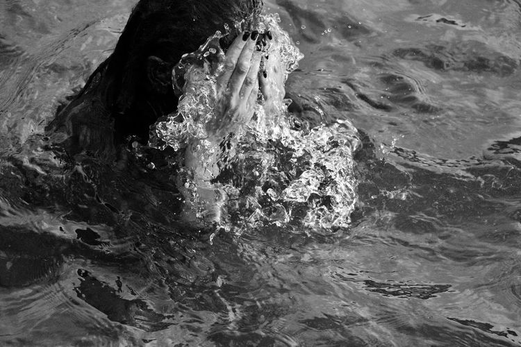 Artistic Hands Young Beauty In Nature Black And White Blackandwhite Day Elena Masiello Elenamasiello Hand Motion Nature Ocean One Person Outdoors People In The Nature People In Water Portrait See Water Waterfront Women Women In The Sea Women In The Water Young Women