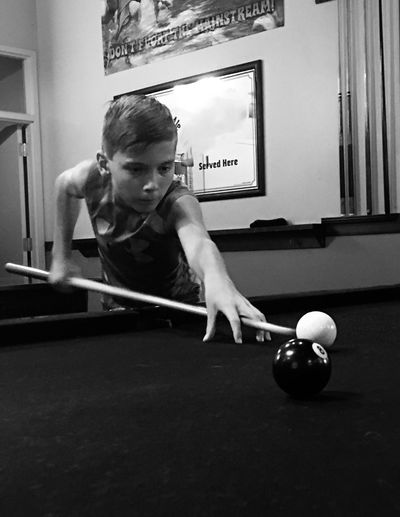 Pool Billiards Game Concentration Boy Pool Stick Portrait Black And White EyeEm Best Shots - Black + White The Portaitist Everyday Life Everyday Emotion Who What Where The Street Photographer - 2017 EyeEm Awards The Portraitist - 2017 EyeEm Awards EyeEmNewHere