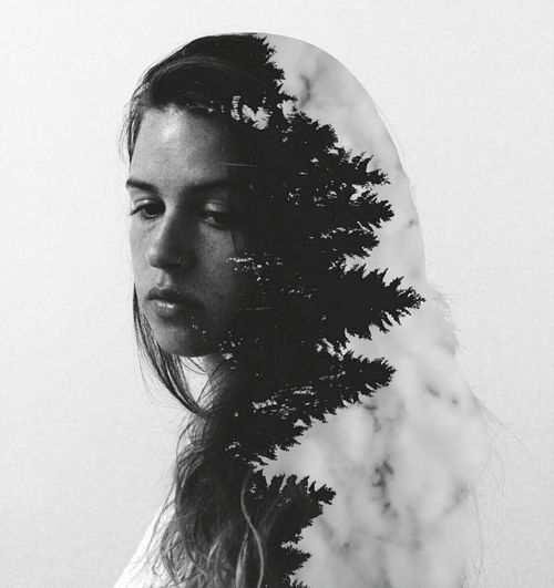 Double Exposure Of Young Woman And Forest