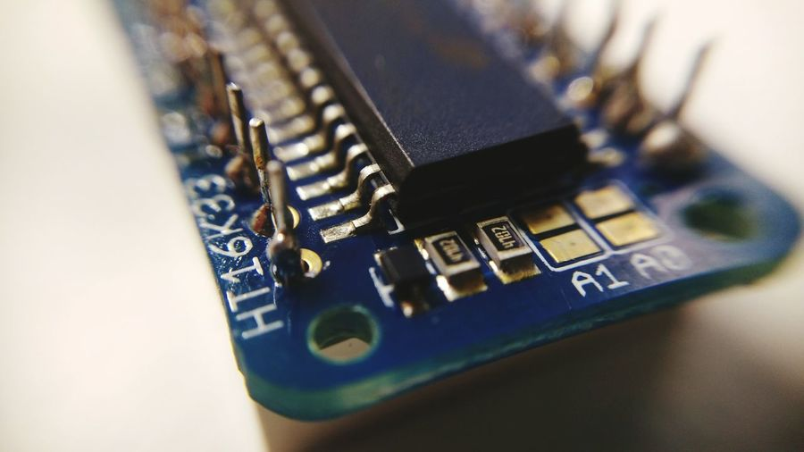 High angle view of computer chip on table