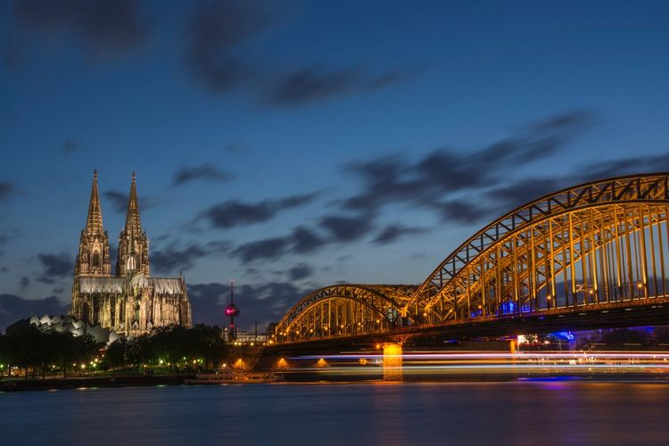 Architecture Bridge Bridge - Man Made Structure Built Structure Cologne Connection Dom Dome EyeEm Best Shots Famous Place Illuminated Köln Longexposure Night Lights Night Snaps Nightphotography Nightshot Rhein River Tadaa Community EyeEm Best Shots - Long Exposure Need For Speed