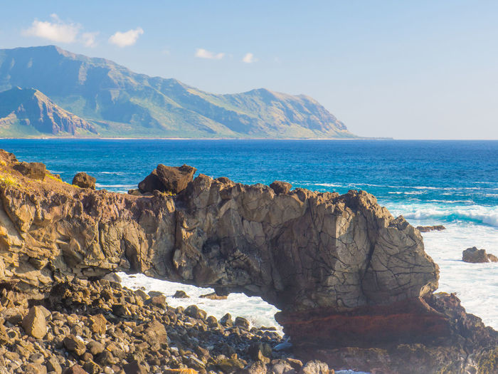 Cliff Mountain Range Ocean View Physical Geography Rock - Object Rock Formation Rocky Scenics Sea Tranquil Scene Tranquility Hawaii Oahu, Hawaii Lost In The Landscape