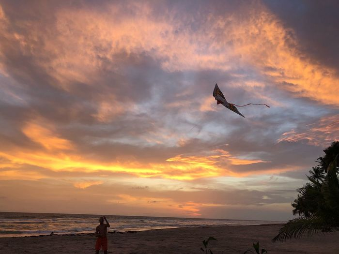 Beach Cerf Volant Sky Cloud - Sky Sunset Sea Flying Water Beauty In Nature Beach Nature Airplane