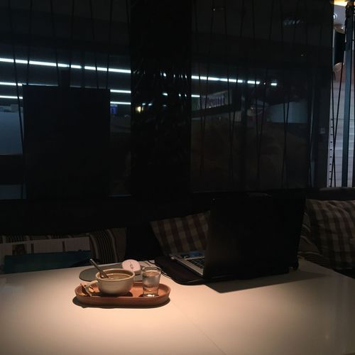 Indoors  Table Window No People Illuminated Day Coffee Time Coffee Working Notebook Workingplace Outofoffice