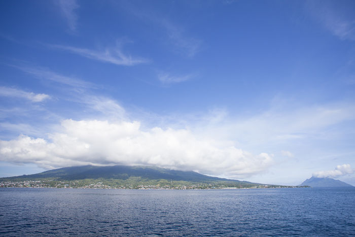 Ternate and Fastofiri Island with Mount Gamalama view. Beauty In Nature Fastofiri Gamalama Mountain Island Maluku  Mountain Nature Non-urban Scene Ocean Ocean View Sand Scenics Sea And Sky Sea View Seascape Sky Ternate Island, Molucca Tranquil Scene Tranquility Water