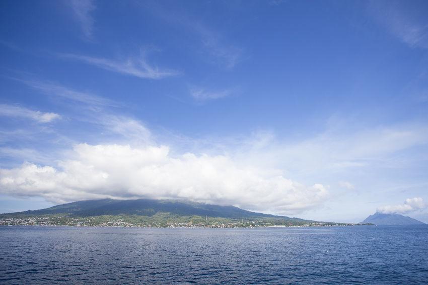 Ternate and Fastofiri Island with Mount Gamalama view. Beauty In Nature Fastofiri Gamalama Mountain Island Maluku  Mountain Nature Non-urban Scene Ocean Ocean View Sand Scenics Sea And Sky Sea View Seascape Sky Ternate Island, Molucca Tranquil Scene Tranquility Water