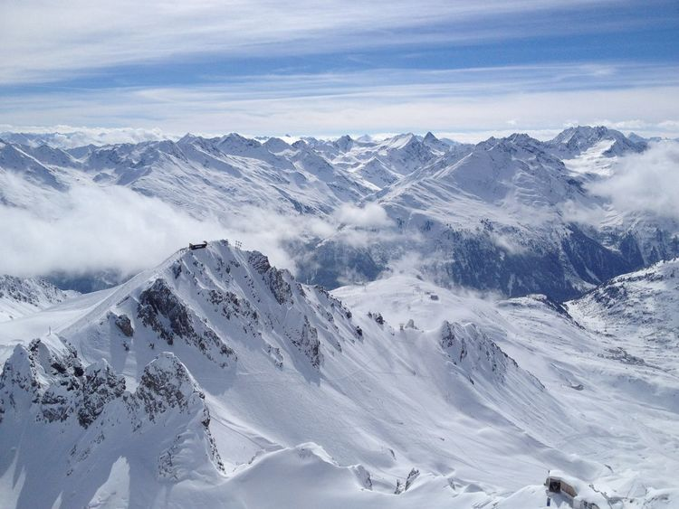 Sankt Anton Am Arlberg Beauty In Nature Cold Temperature Day Landscape Mountain Mountain Range Nature No People Outdoors Range Scenics Sky Snow Snowcapped Mountain Tranquil Scene Tranquility Weather Winter Shades Of Winter