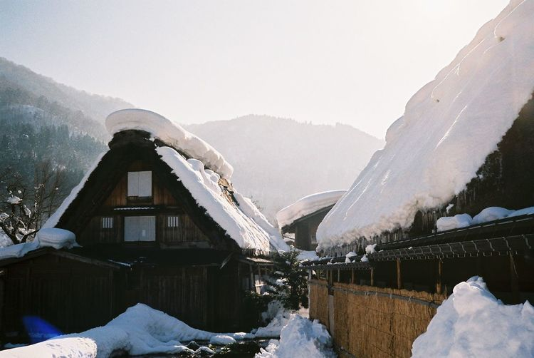 Architecture Beauty In Nature Cold Temperature Cold Temperture Day Film Photography Freezing Fujifilm Japan Mountain Nature No Filter, No Edit, Just Photography No People Outdoors Scenics Shirakawago Snow Travel Destinations Water Watermill Winter