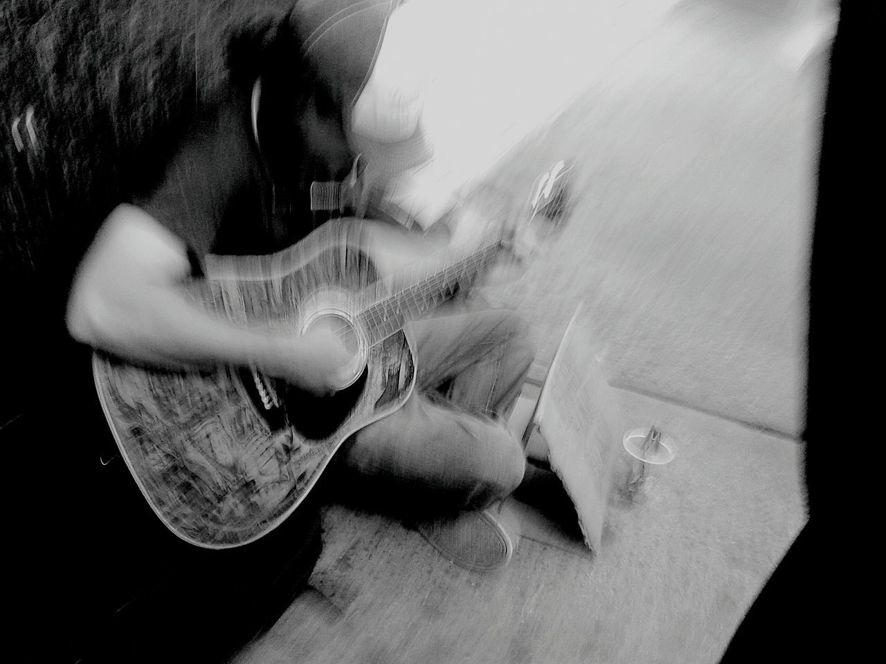 real people, one person, playing, indoors, sitting, men, musical instrument, full length, day, young adult, close-up, human hand