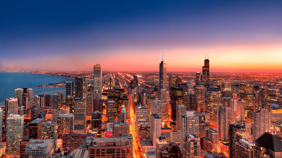 Chicago skyline Architecture Building Exterior Built Structure City Cityscape Downtown District High Angle View Illuminated Modern Night No People Sky Skyscraper Sunset Tower Travel Destinations