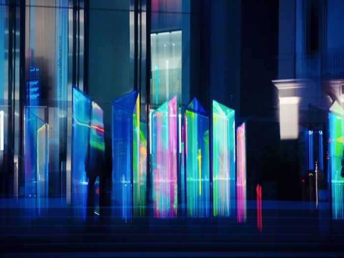 Illuminated Multi Colored Night No People Lighting Equipment Music Arts Culture And Entertainment Glass - Material Reflection Creativity Glowing Architecture Blue Neon