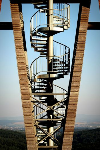 Metallic Spiral Staircase At Rozhledna Salas Against Sky