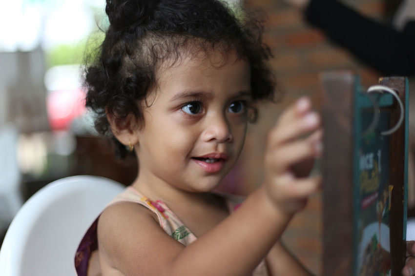 Child Childhood Close-up Cute Daughter Day Domestic Kitchen Domestic Life Domestic Room Family Full Frame Gilrs Home Interior Horizontal INDONESIA Indoors  Innocence One Person One Person Only People Photography Preschool Age Real People Women