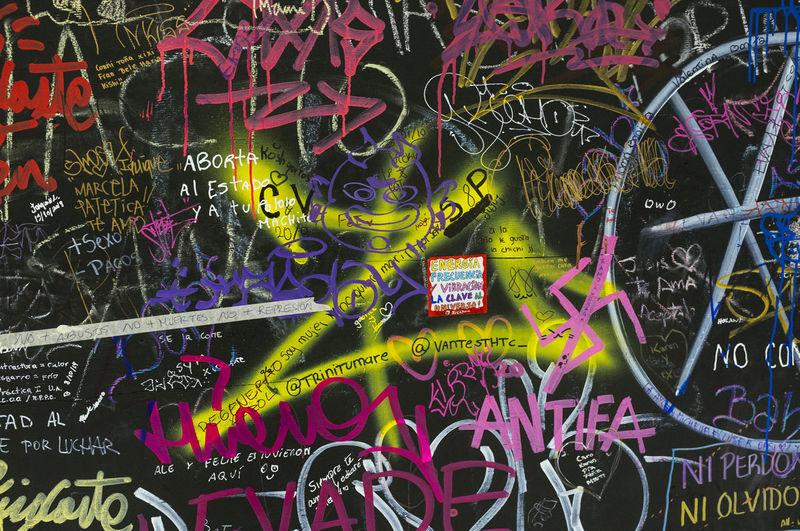 Full frame shot of graffiti on airplane