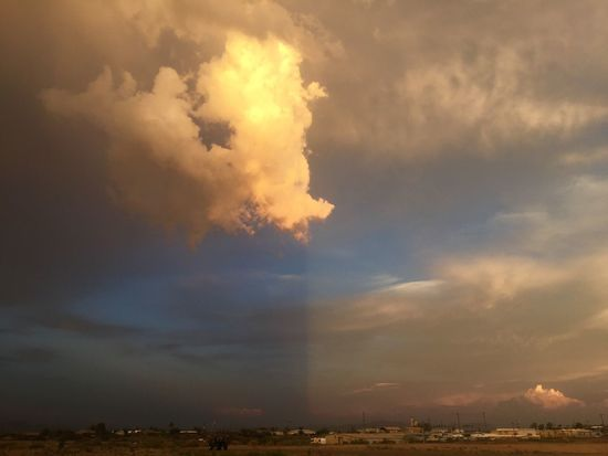 Stunning play of light that made the sky look like it was two tone. Clouds Colors Outdoor Photography Mothernature Light Beauty In Nature Beauty Nature Photography Nature Color Arizona Sky Safford Outdoors Landscape_photography Arizona Sky Skies Clouds And Sky