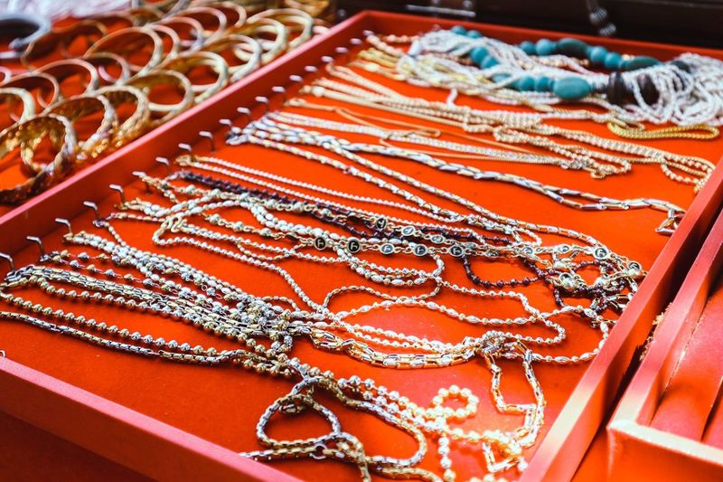High Angle View Of Chains For Sale In Jewelry Shop