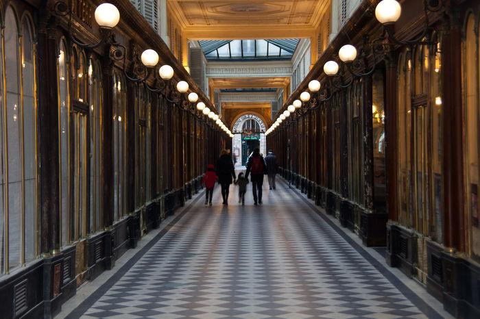 Architecture Corridor Illuminated Indoors  Paris People Walking