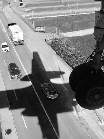 Shadow Landing Switzerland Blackandwhite Plane Shadow