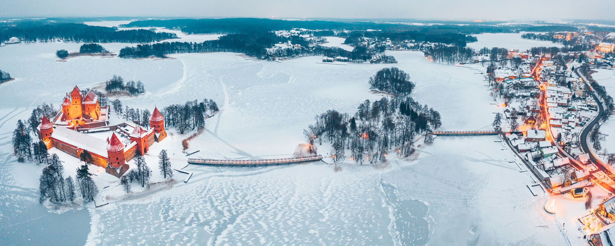 Aerial view of snowy landscape and houses in town