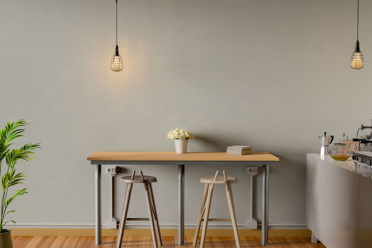 Coffee bar interior 3d Coffee Bar Chair Domestic Room Electric Lamp Electric Light Furniture Hanging Home Home Interior Illuminated Indoors  Light Lighting Equipment Luxury Nature No People Pendant Light Plant Seat Table Vase Wall - Building Feature